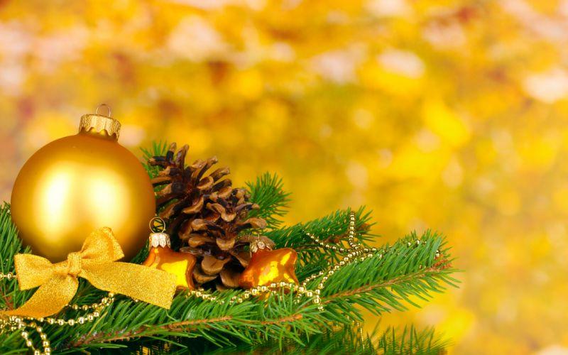 gold balls merry christmas ribbon new year christmas decoration wallpaper