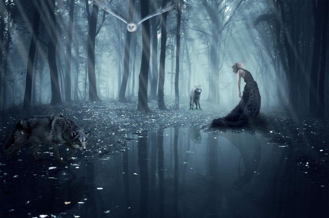 Isadora Vilarim girl wolf owl forest wolves gothic goth loli mood wallpaper