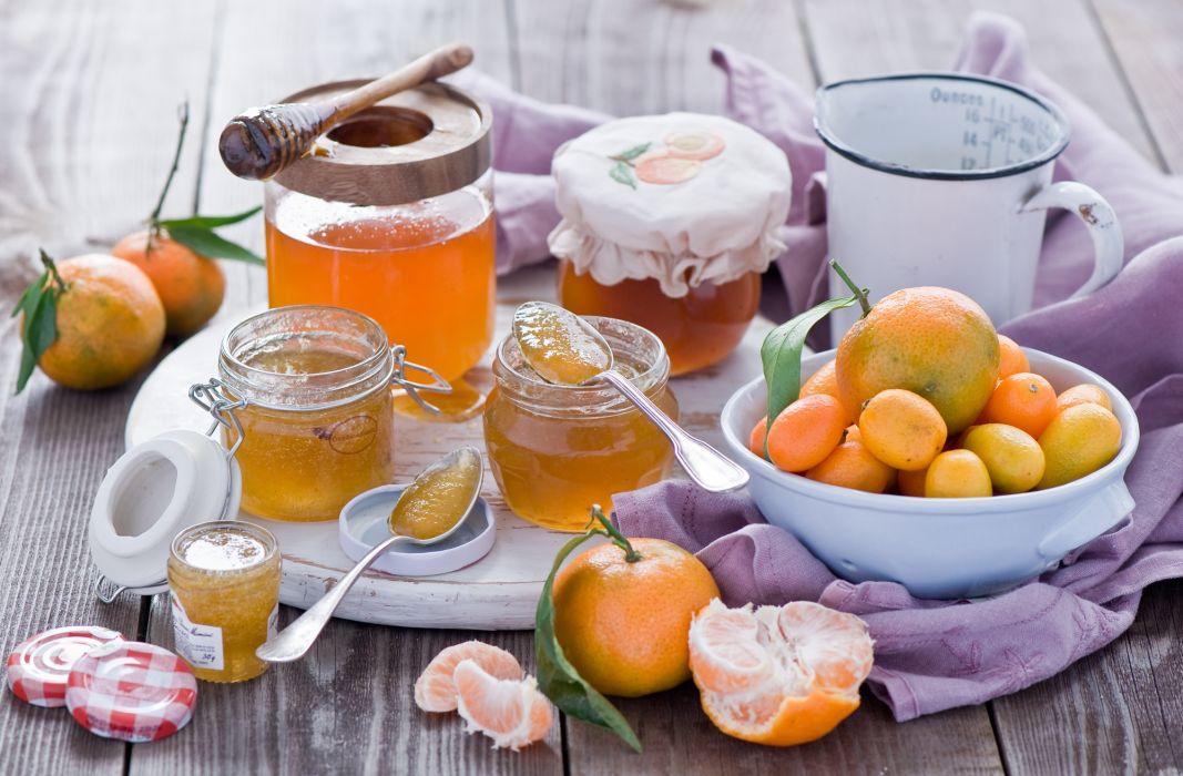 jam citrus fruits tangerines kumquats jars still life bokeh wallpaper