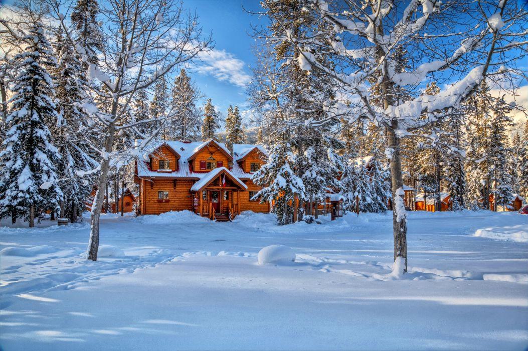 landscape nature winter snow house Alberta Canada wallpaper