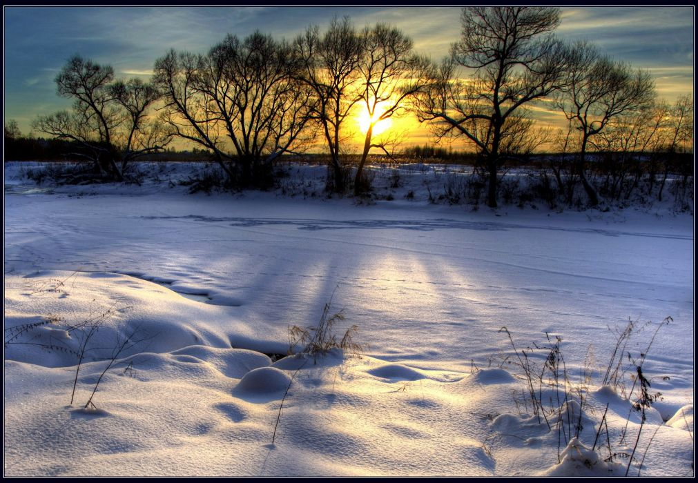 landscape nature winter sunset snow hdr wallpaper