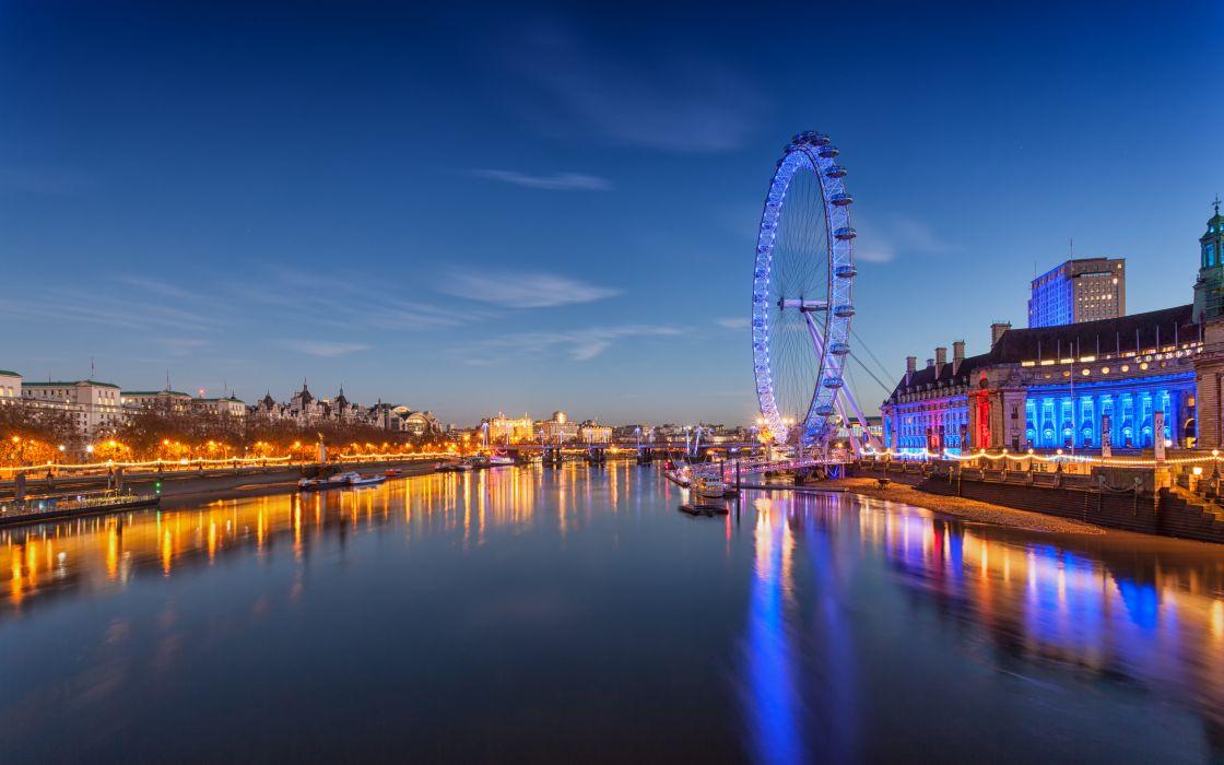 London England River Thames Ferris wheel night city reflection wallpaper