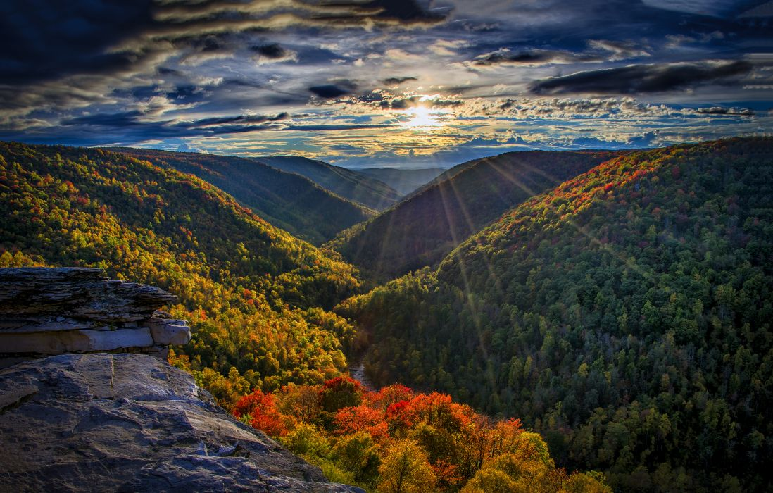mountains river autumn sun forest rays   f wallpaper