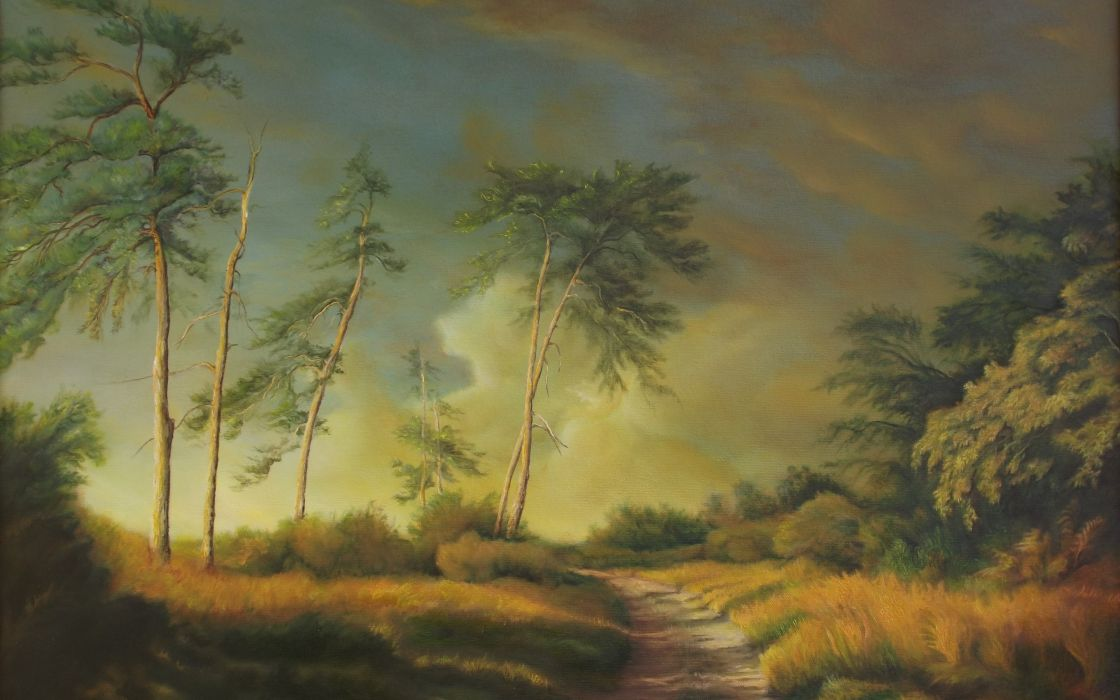 nature grass trees landscape art painting wallpaper
