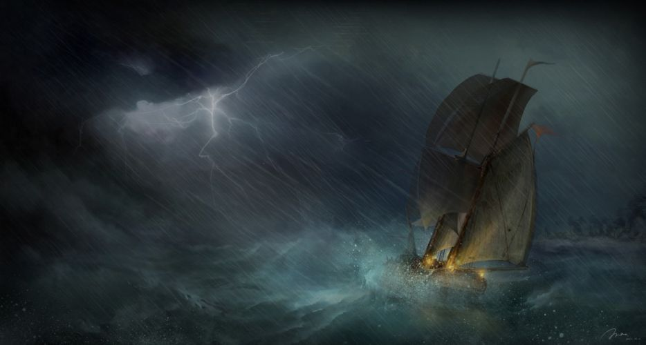 sea ship sailing art storm lightning ocean rain painting wallpaper