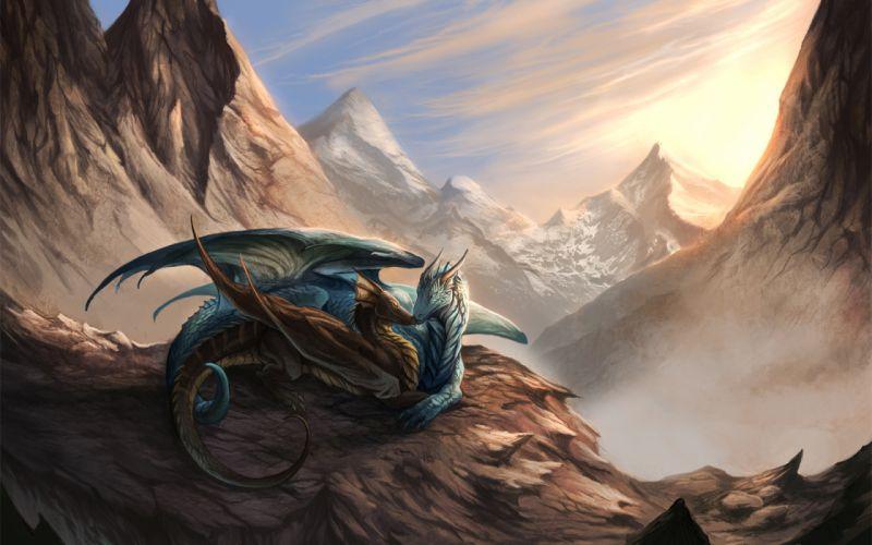 snow light dragon mountains mood love wallpaper