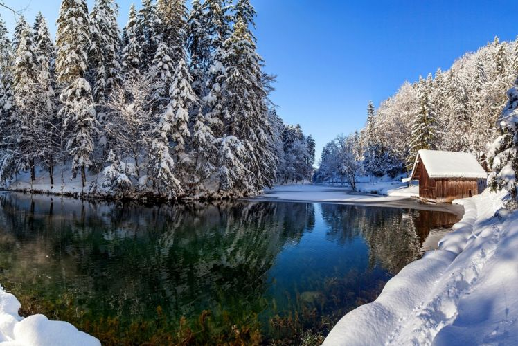 snow nature winter house reflection f wallpaper