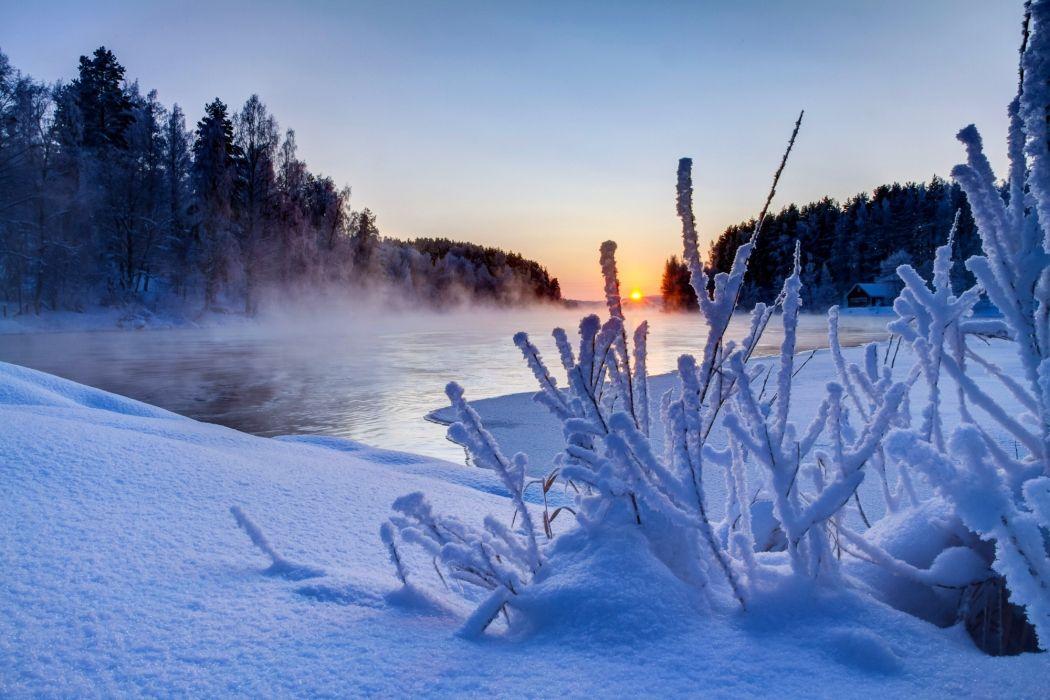 sunset nature winter snow sky river      f wallpaper
