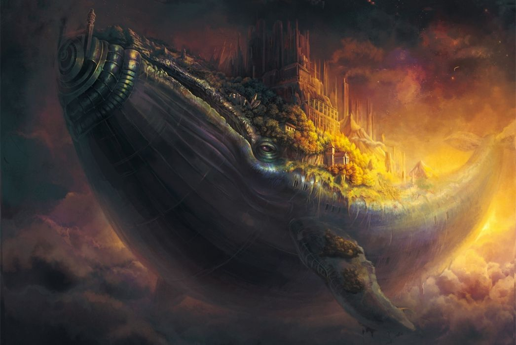 whale fish city flying in the sky art castle steampunk fantasy wallpaper