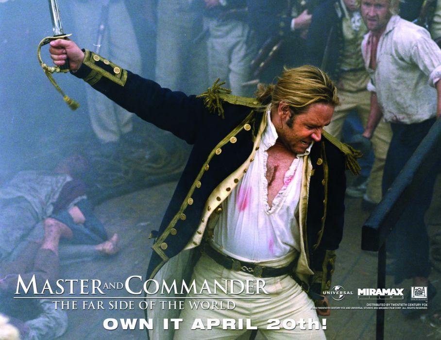 MASTER AND COMMANDER Action Adventure Drama War ship boat battle poster    h wallpaper