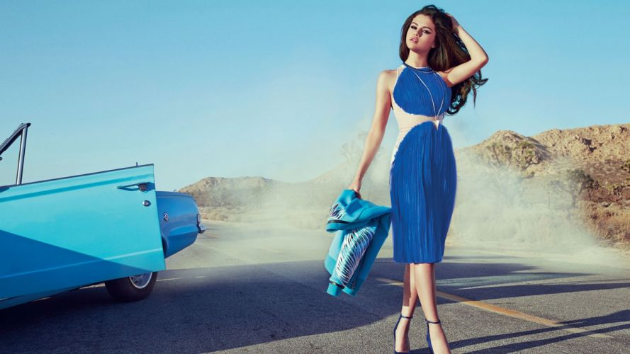 brunettes women Selena Gomez dress cars actress singers wallpaper