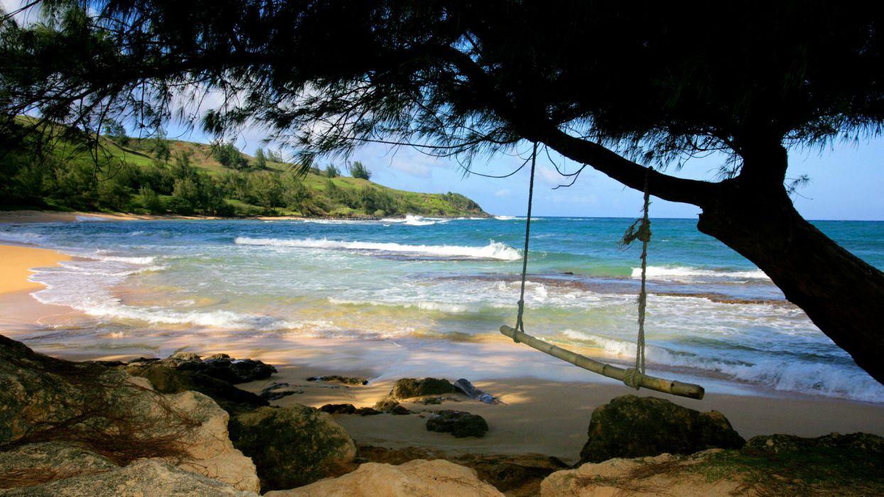 ocean landscapes swings beaches wallpaper
