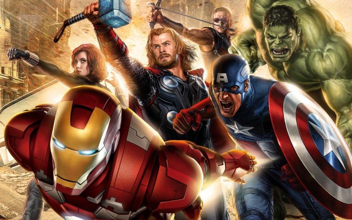Hulk (comic character) Iron Man Thor Captain America Black Widow artwork The Avengers Hawkeye The Avengers (movie) wallpaper