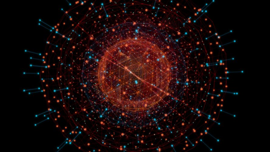 abstract digital art Iron Man 2 black background molecules wallpaper