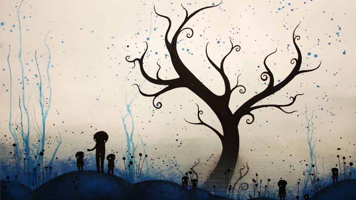 trees artwork wallpaper