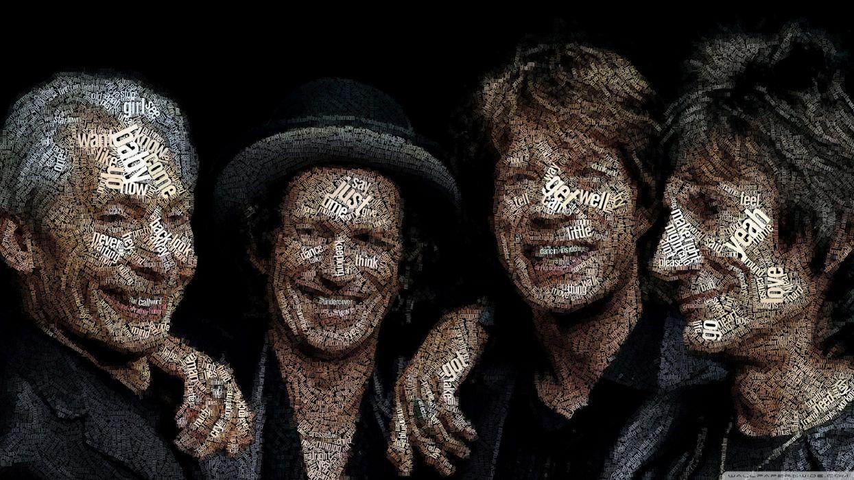 music men typography Rolling Stones animation artwork typographic portrait Juan Osborne wallpaper