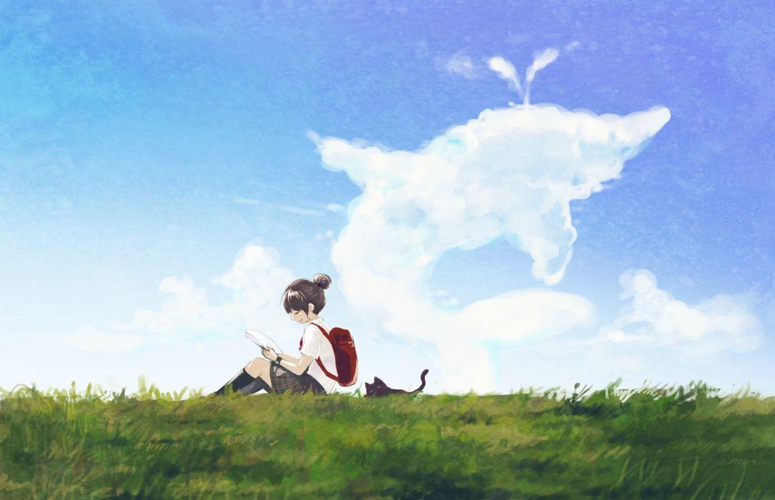 brunettes clouds cats grass school uniforms thigh highs anime girls backpacks wallpaper
