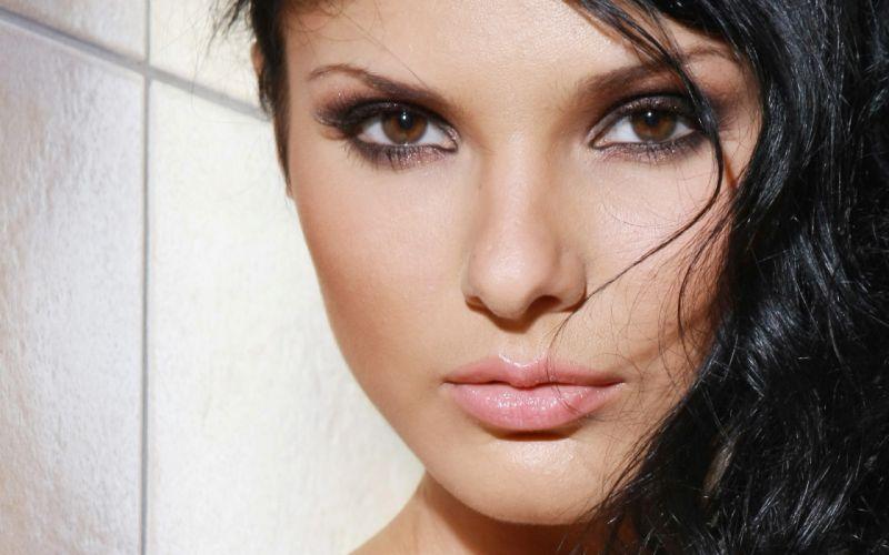 brunettes women eyes faces Jordan B wallpaper