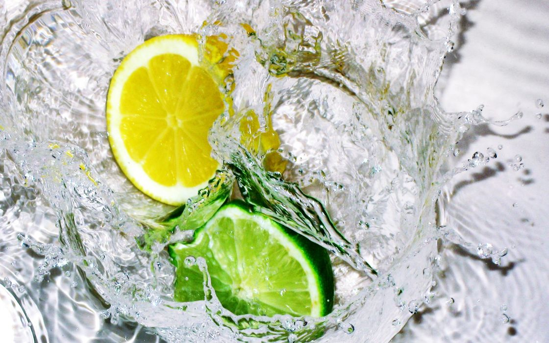 water limes lemons wallpaper