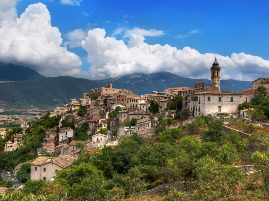 mountains clouds Italian Italy villages wallpaper