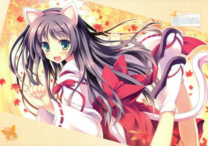 long hair nekomimi animal ears Miko anime Kaitou Tenshi Twin Angel Kurumi Tateha wallpaper
