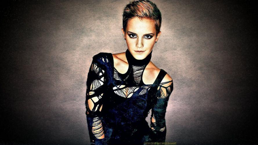 brunettes women Emma Watson models faces photo manipulation wallpaper