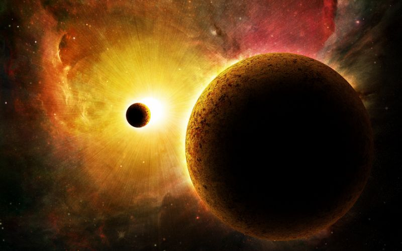 light Sun outer space stars planets wallpaper