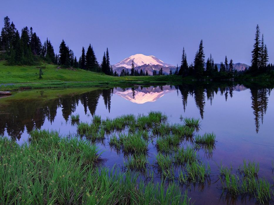 mountains landscapes forests ponds lakes wallpaper