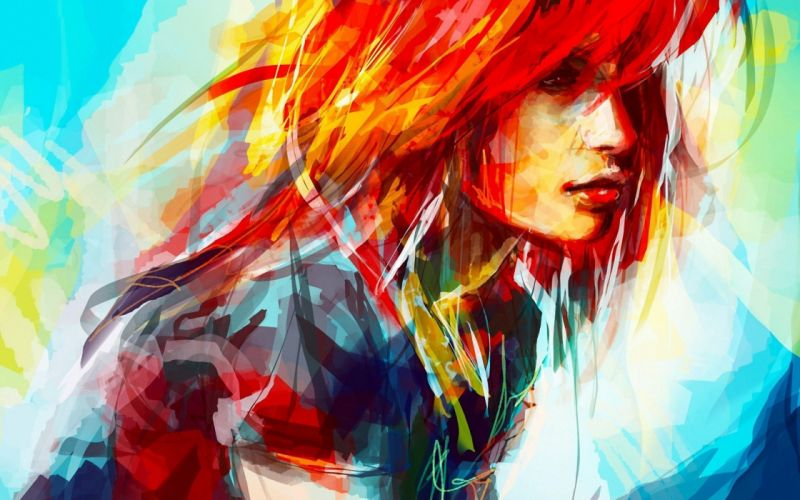 Hayley Williams women paintings redheads artwork drawings alice x zhang wallpaper