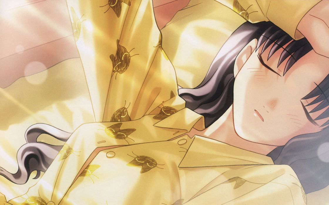 Fate/Stay Night Tohsaka Rin sleeping anime girls Fate series wallpaper