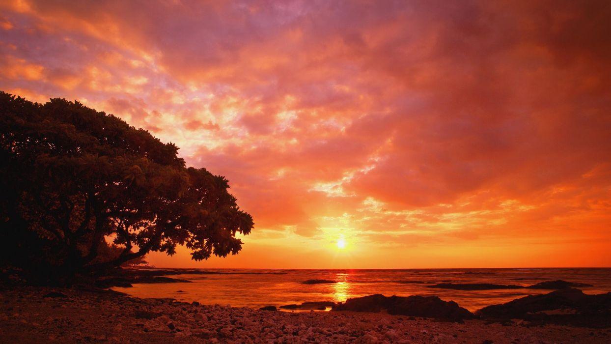 sunset shore seaside sea beaches wallpaper