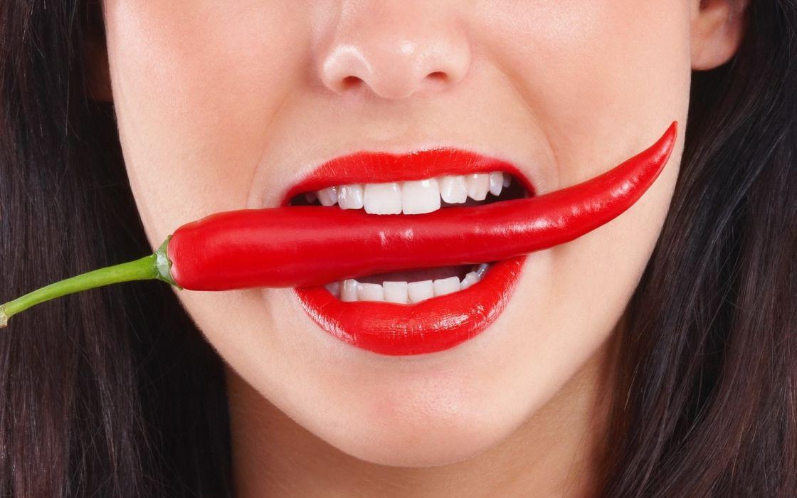 brunettes women lips faces peppers jalapeno wallpaper