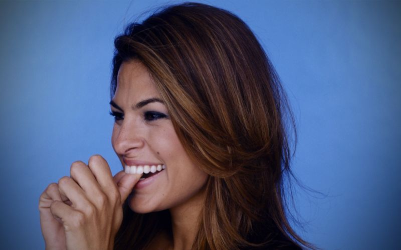 brunettes women actress Eva Mendes celebrity teeth faces wallpaper