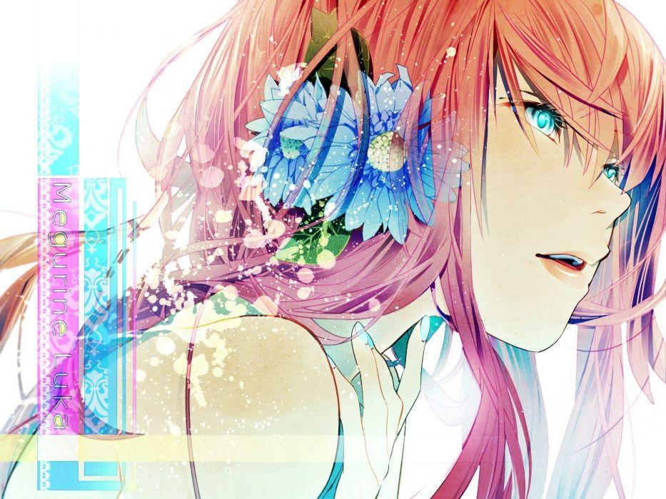 close-up Vocaloid text lips Megurine Luka long hair pink hair aqua eyes faces nail polish hair ornaments flower in hair wallpaper