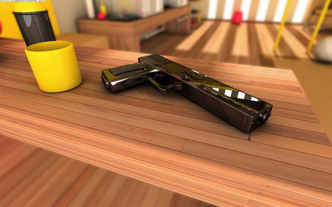 3D view pistols guns tables Homes wallpaper