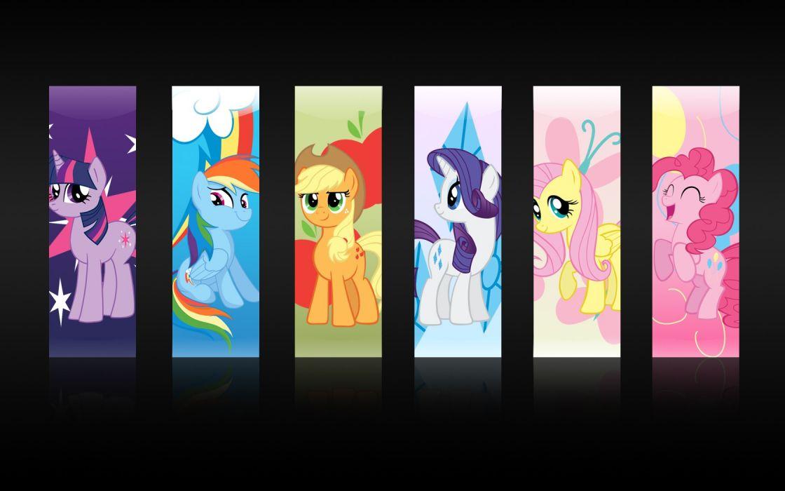 My Little Pony Fluttershy Rainbow Dash Twilight Sparkle Rarity Pinkie Pie Applejack wallpaper