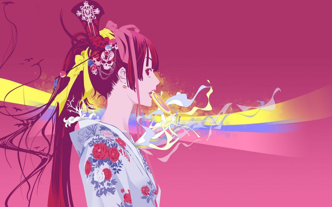 Tenjou Tenge Natsume Aya Japanese clothes anime girls wallpaper