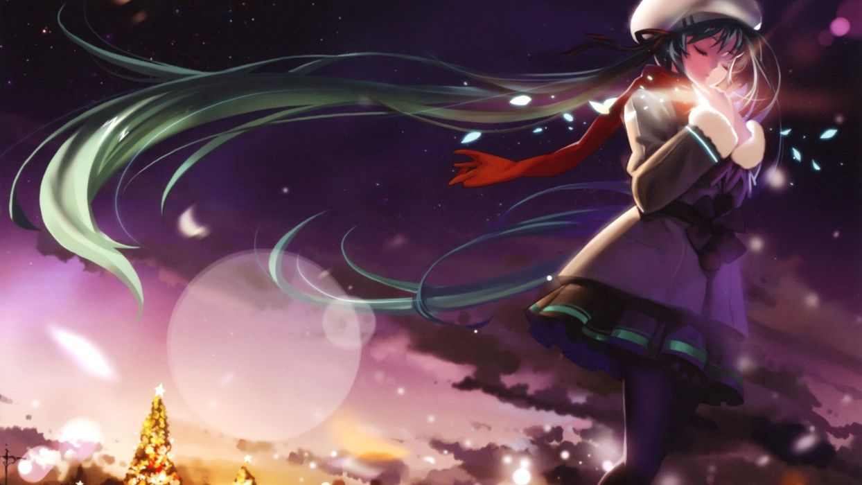 light clouds winter Vocaloid Hatsune Miku lens flare skirts long hair Christmas Christmas trees pantyhose green hair twintails fireflies closed eyes scarfs flower petals soft shading hats coat anime girls scans skies Alphonse (White Datura) wallpaper