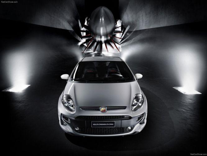 white cars Abarth Fiat Punto Mitsubishi Evo wallpaper