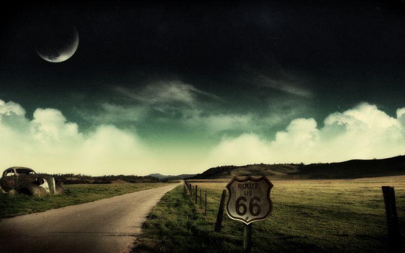 landscapes Moon fields route 66 roads wallpaper