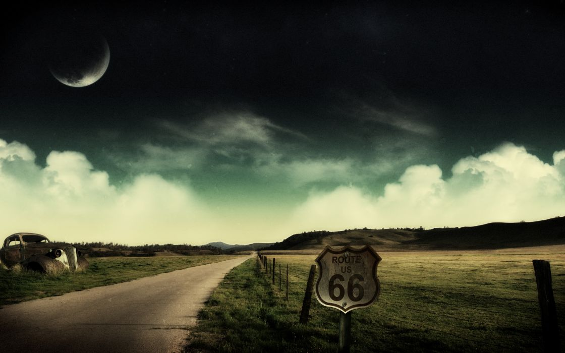landscapes Moon fields route 66 roads wallpaper