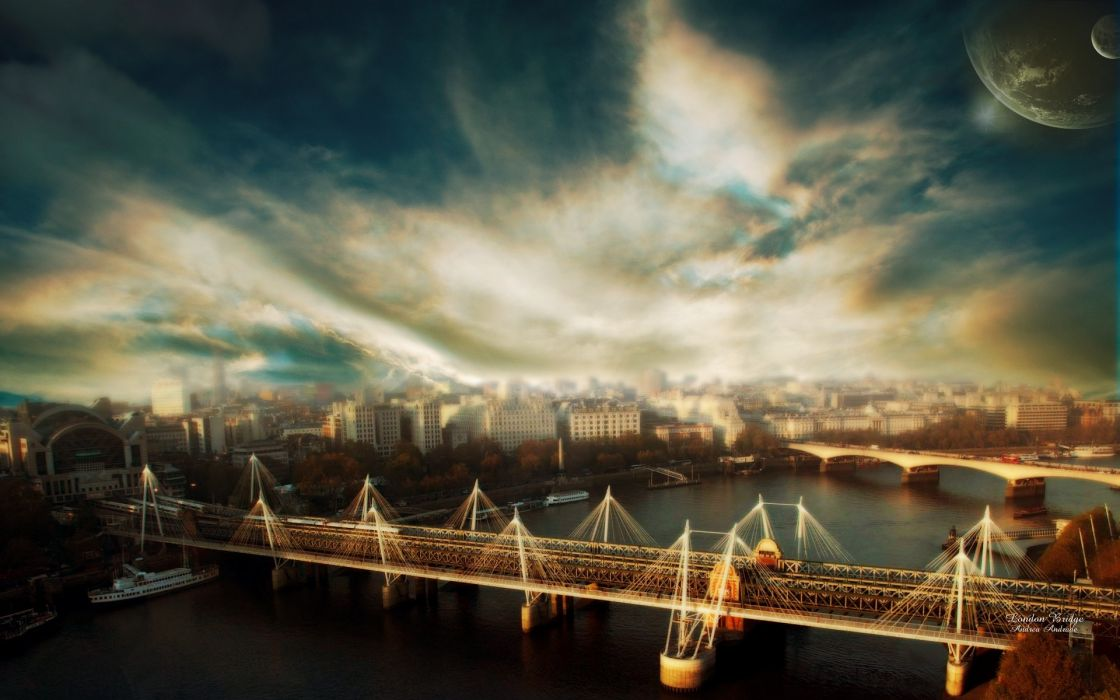 bridges skyscapes cities wallpaper