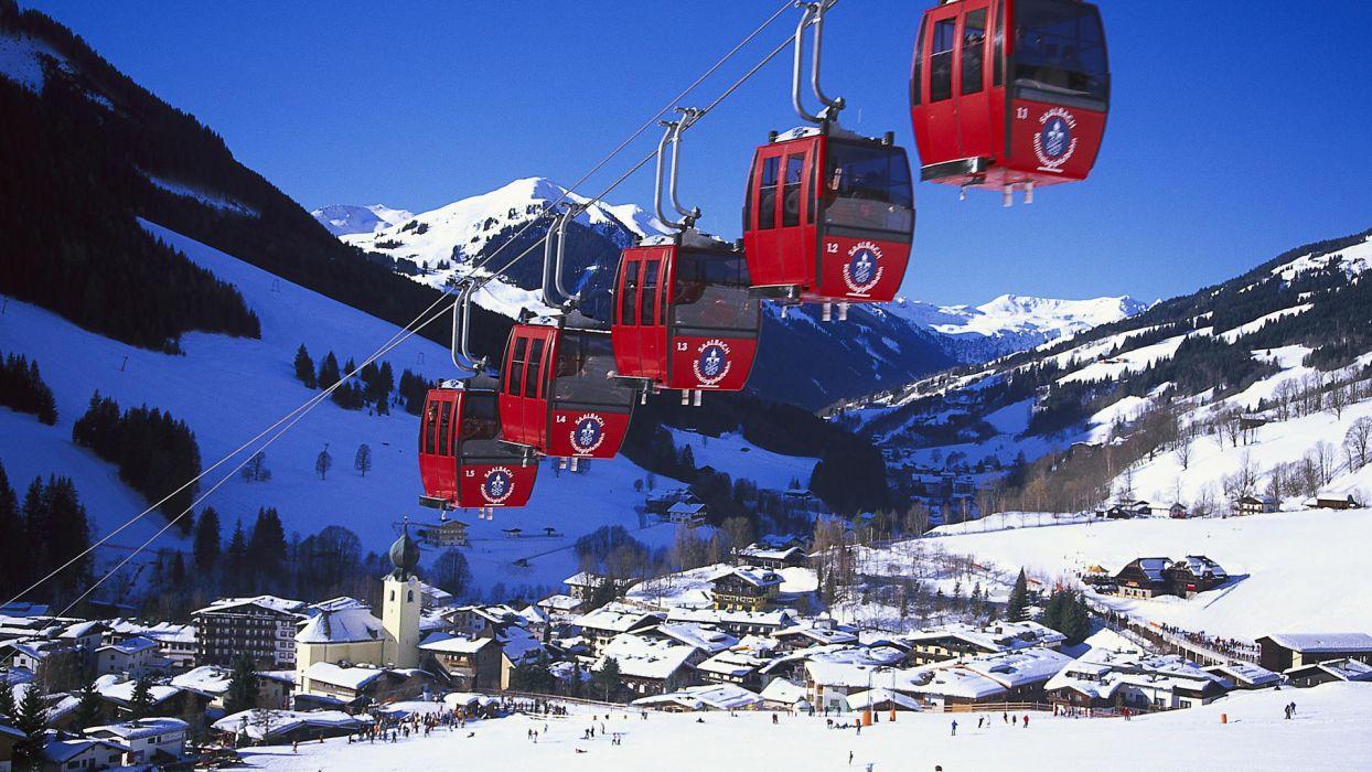 mountains snow Austria snow landscapes Cable Car Saalbach-Hinterglemm wallpaper