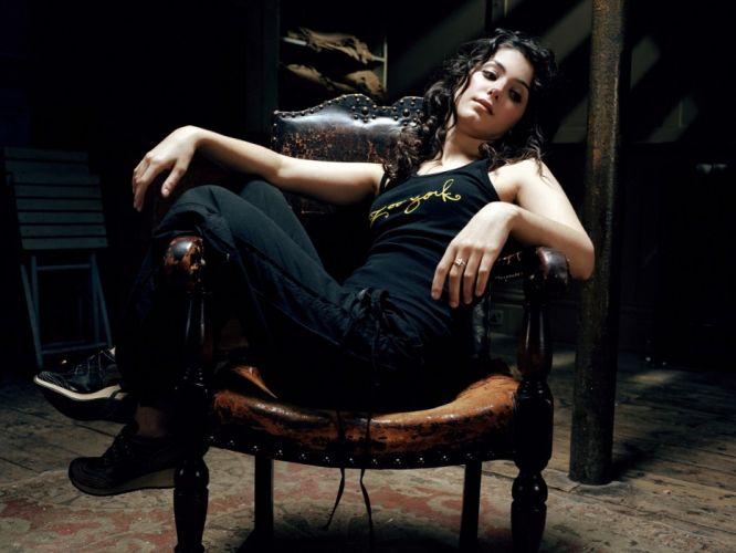 brunettes women bra long hair Katie Melua chairs curly hair sitting wallpaper