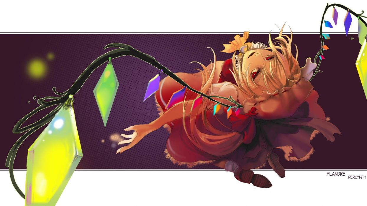 blondes video games Touhou wings long hair vampires red eyes crystals bows open mouth fangs ponytails Flandre Scarlet hats hair ornaments side ponytail wallpaper