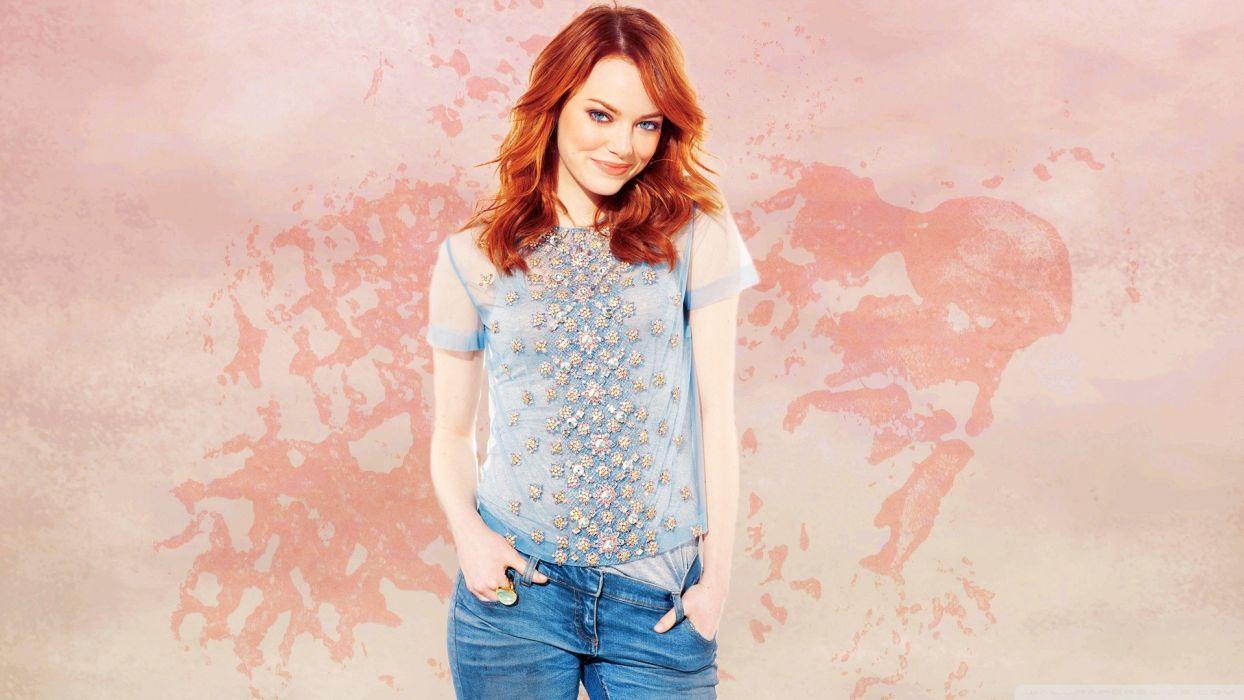 women jeans actress redheads Emma Stone wallpaper