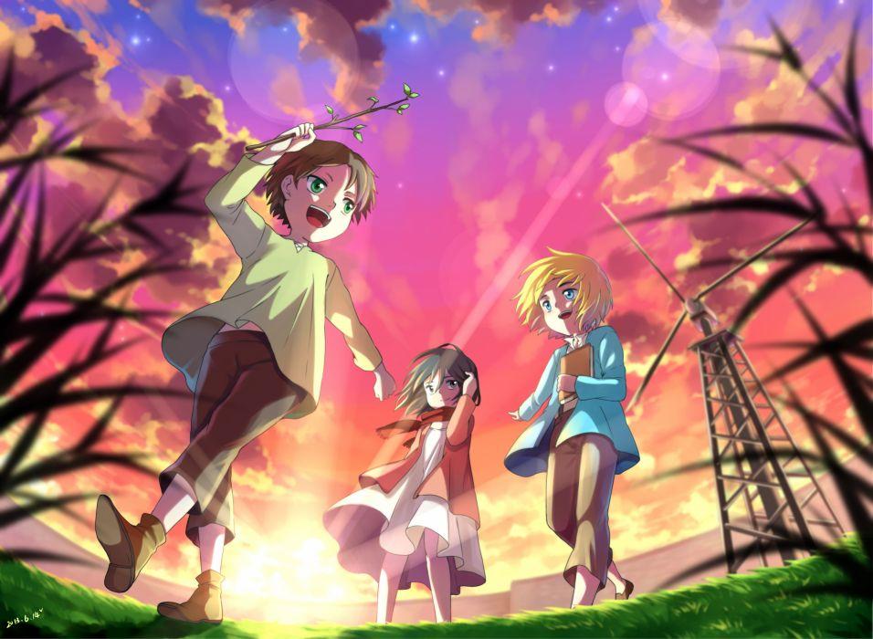 anime anime girls Shingeki no Kyojin Mikasa Ackerman Eren Jaeger Armin Arlert wallpaper