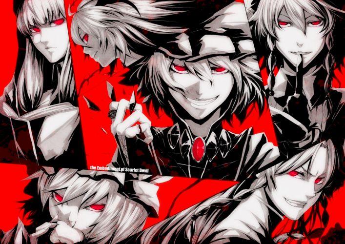 Touhou Izayoi Sakuya vampires red eyes grin Flandre Scarlet Koakuma Hong Meiling Patchouli Knowledge Remilia Scarlet Embodiment of Scarlet Devil wallpaper