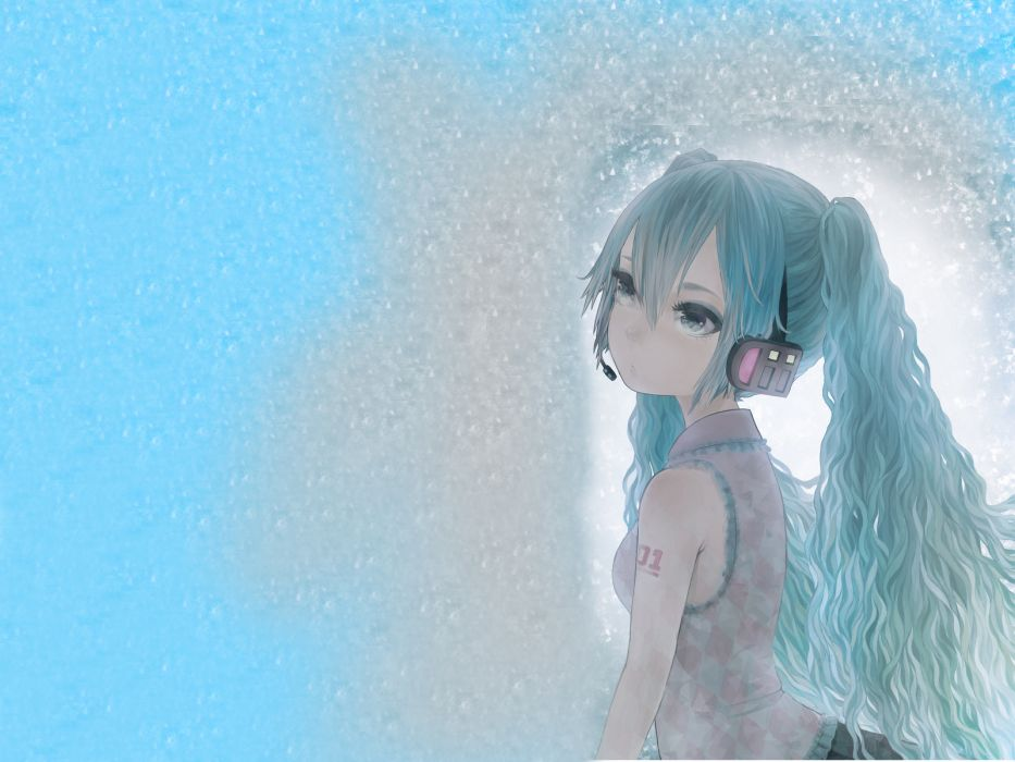 headphones blue Vocaloid Hatsune Miku wallpaper
