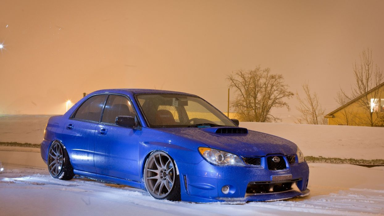 snow cars blue cars stance Subaru Impreza WRX STI wallpaper